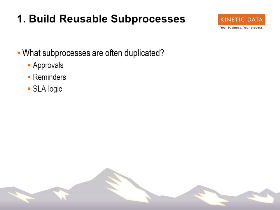 22 1. Build Reusable Subprocesses  What subprocesses are often duplicated.