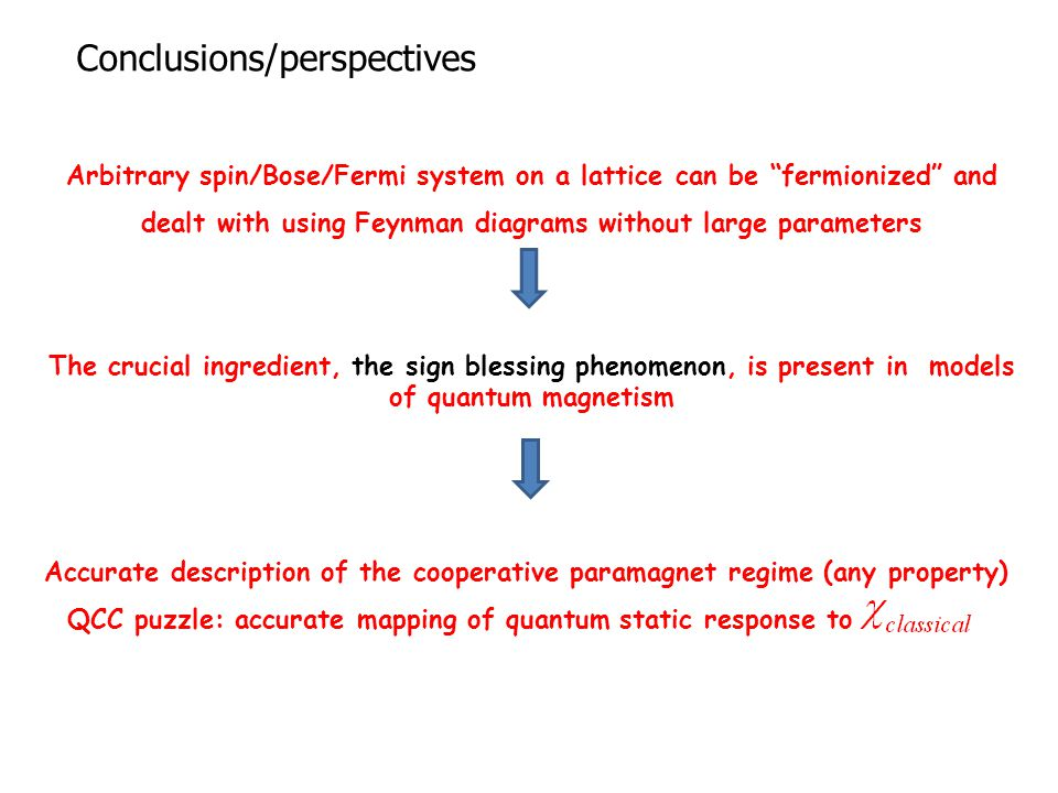 Conclusions/perspectives Arbitrary spin/Bose/Fermi system on a lattice can be fermionized and dealt with using Feynman diagrams without large parameters The crucial ingredient, the sign blessing phenomenon, is present in models of quantum magnetism Accurate description of the cooperative paramagnet regime (any property) QCC puzzle: accurate mapping of quantum static response to