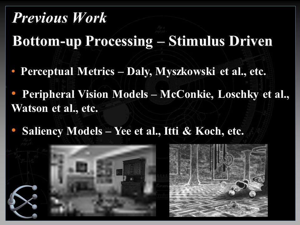Previous Work Bottom-up Processing – Stimulus Driven Perceptual Metrics – Daly, Myszkowski et al., etc.