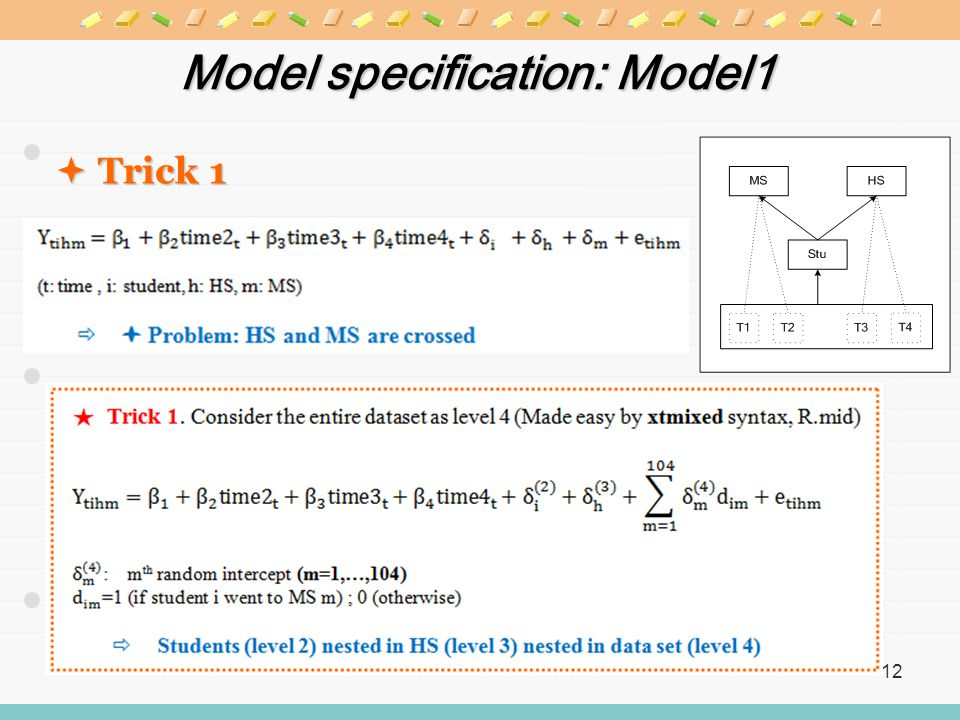 12 Model specification: Model1  Trick 1