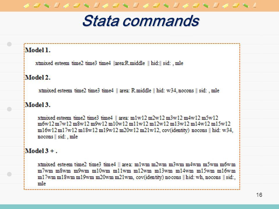 Stata commands 16