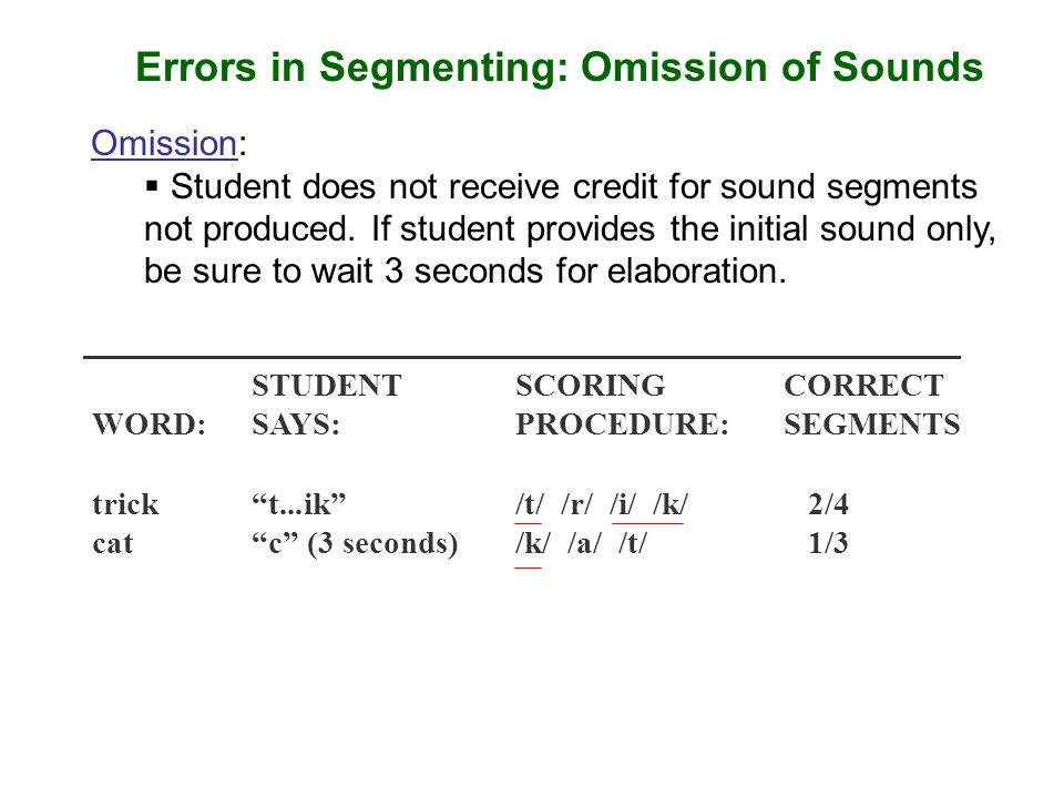 Errors in Segmenting: Omission of Sounds Omission:  Student does not receive credit for sound segments not produced. If student provides the initial