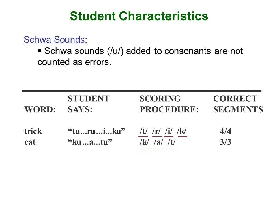 Student Characteristics STUDENTSCORINGCORRECT WORD:SAYS:PROCEDURE:SEGMENTS trick tu...ru...i...ku /t/ /r/ /i/ /k/ 4/4 cat ku...a...tu /k/ /a/ /t/ 3/3 Schwa Sounds:  Schwa sounds (/u/) added to consonants are not counted as errors.
