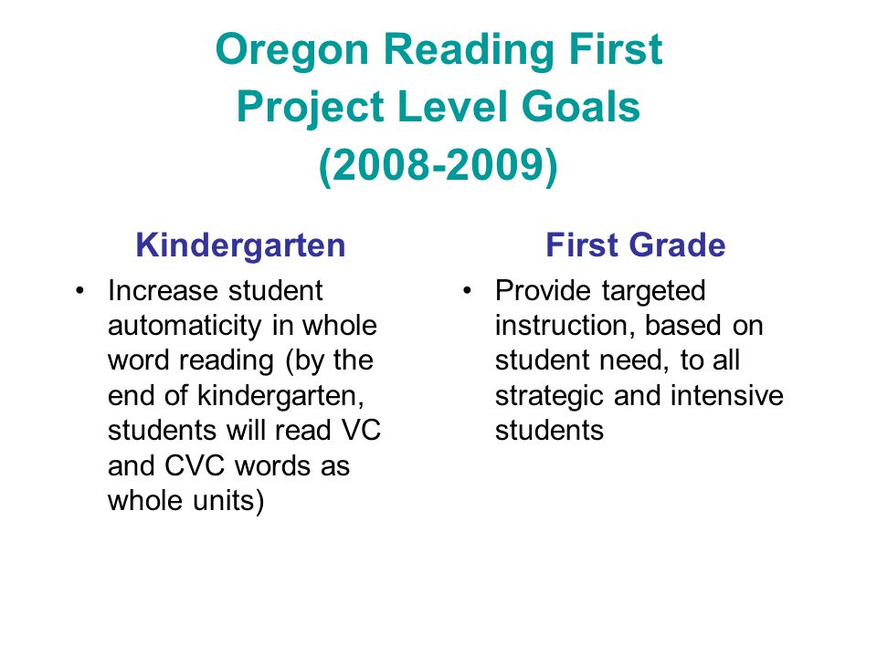 Oregon Reading First Project Level Goals (2008-2009) Kindergarten Increase student automaticity in whole word reading (by the end of kindergarten, stu
