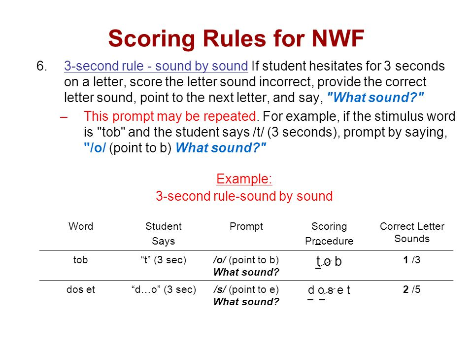 Scoring Rules for NWF 6.3-second rule - sound by sound If student hesitates for 3 seconds on a letter, score the letter sound incorrect, provide the correct letter sound, point to the next letter, and say, What sound –This prompt may be repeated.
