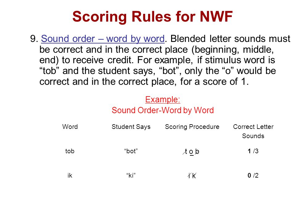 Scoring Rules for NWF 9. Sound order – word by word.