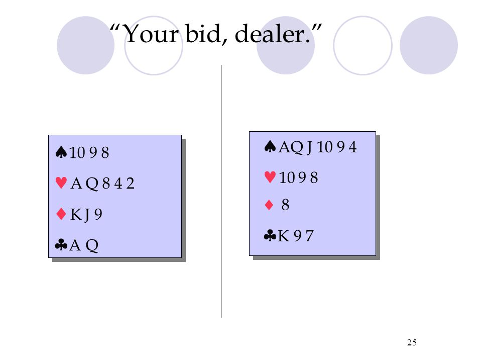 "24 ""Your bid, dealer.""  10 9 8 4 3 A K Q 2  K 9  J 8  10 9 8 4 3 A K Q 2  K 9  J 8  Q J 10 9 A 9 8  A K Q  J 9 7"