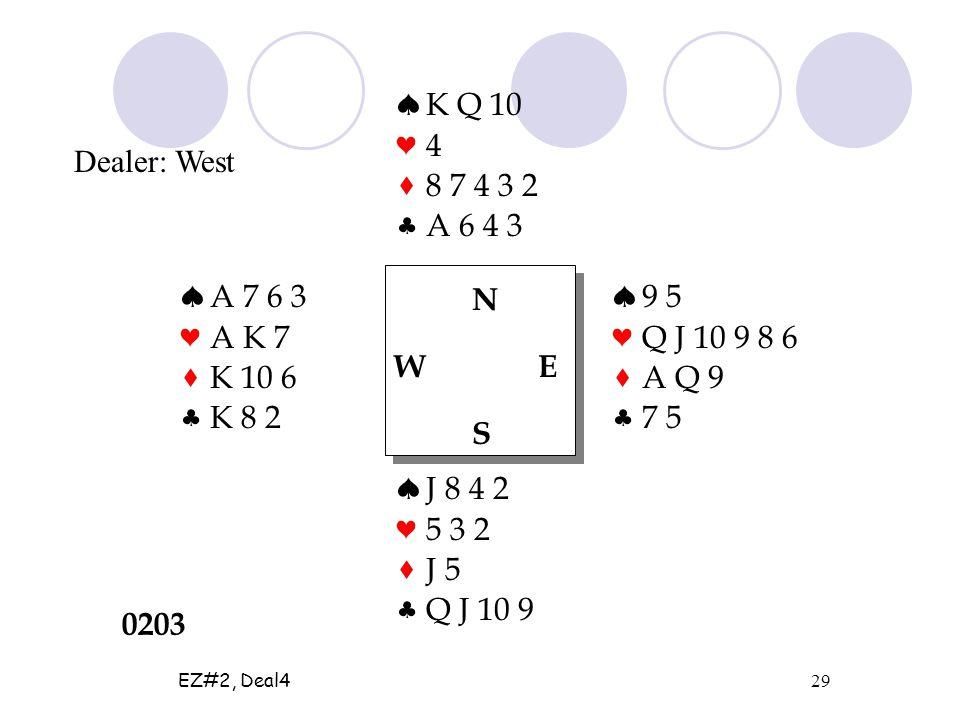 28 NWESNWES A 7 6 4 K 8 3 J 5 2 A Q 8 8 2 Q J 10 5 A 9 4 J 7 3 2 9 3 A 9 6 K Q 7 6 3 10 6 5 K Q J 10 5 7 4 2 10 8 K 9 4 0202 Dealer: North EZ#2, Deal3