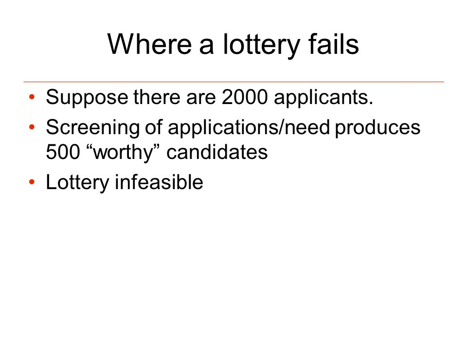 Where a lottery fails Suppose there are 2000 applicants.