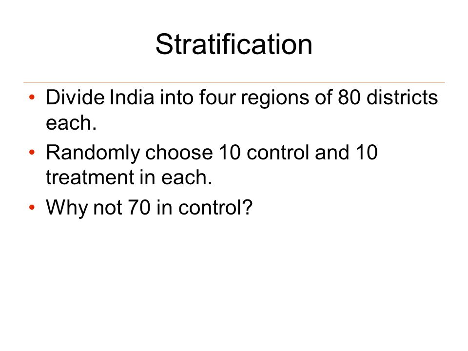 Stratification Divide India into four regions of 80 districts each.