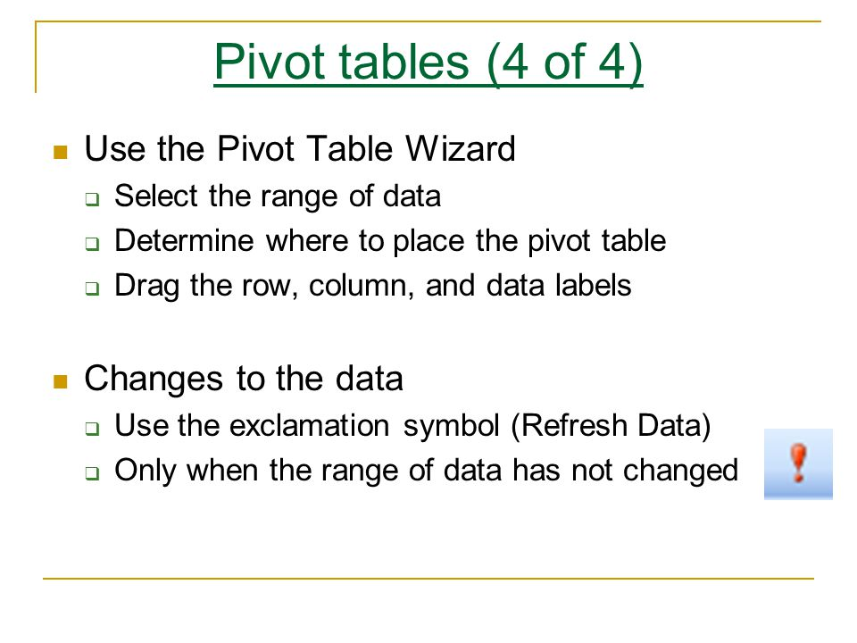 Pivot tables (4 of 4) Use the Pivot Table Wizard  Select the range of data  Determine where to place the pivot table  Drag the row, column, and data labels Changes to the data  Use the exclamation symbol (Refresh Data)  Only when the range of data has not changed