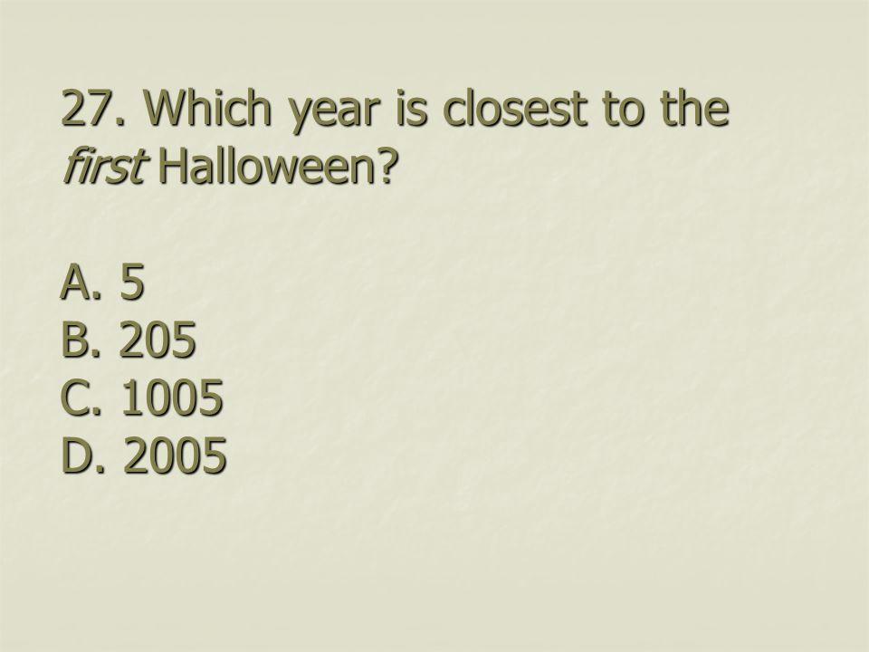 26. Where was Halloween first celebrated A. USA B. Hong Kong C. Britain D. Belgium