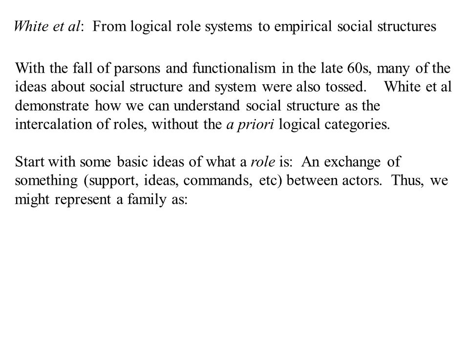 White et al: From logical role systems to empirical social structures With the fall of parsons and functionalism in the late 60s, many of the ideas about social structure and system were also tossed.