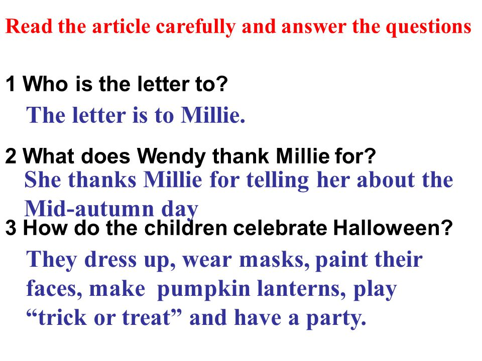 1 Who is the letter to. 2 What does Wendy thank Millie for.