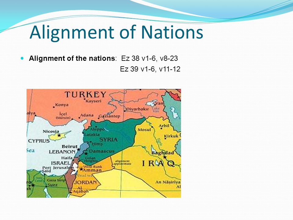 Alignment of Nations Alignment of the nations: Ez 38 v1-6, v8-23 Ez 39 v1-6, v11-12