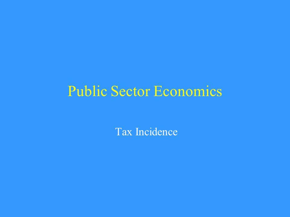 Public Sector Economics Tax Incidence