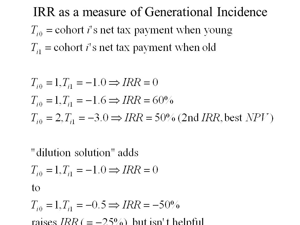 IRR as a measure of Generational Incidence