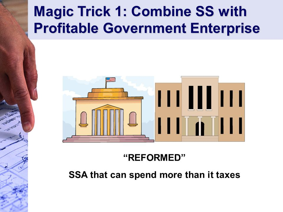 REFORMED SSA that can spend more than it taxes Magic Trick 1: Combine SS with Profitable Government Enterprise