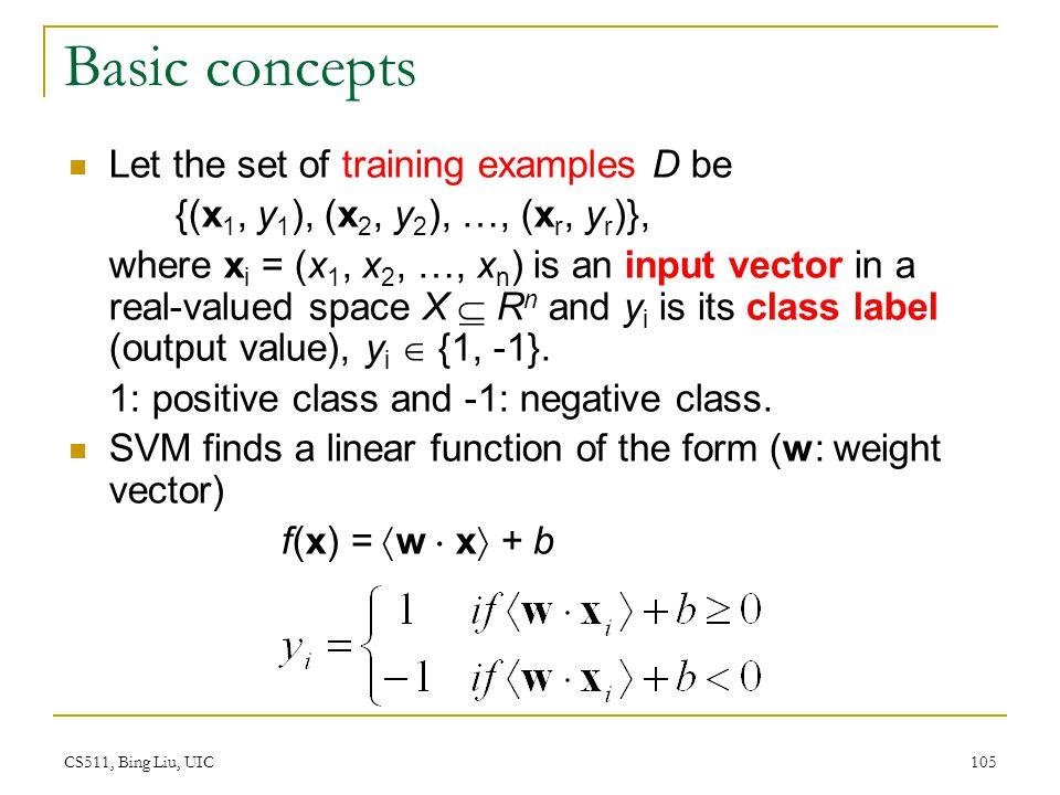 CS511, Bing Liu, UIC 105 Basic concepts Let the set of training examples D be {(x 1, y 1 ), (x 2, y 2 ), …, (x r, y r )}, where x i = (x 1, x 2, …, x