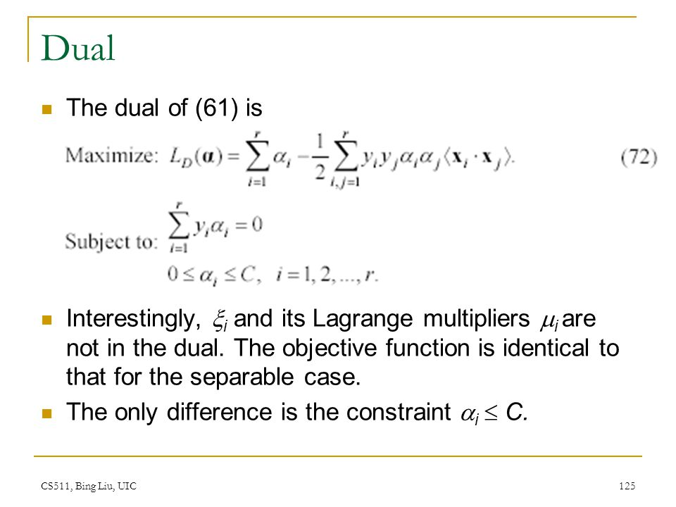 CS511, Bing Liu, UIC 125 Dual The dual of (61) is Interestingly,  i and its Lagrange multipliers  i are not in the dual. The objective function is i