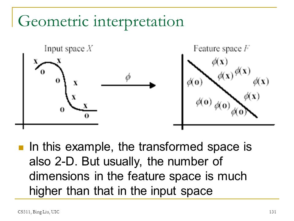 CS511, Bing Liu, UIC 131 Geometric interpretation In this example, the transformed space is also 2-D. But usually, the number of dimensions in the fea