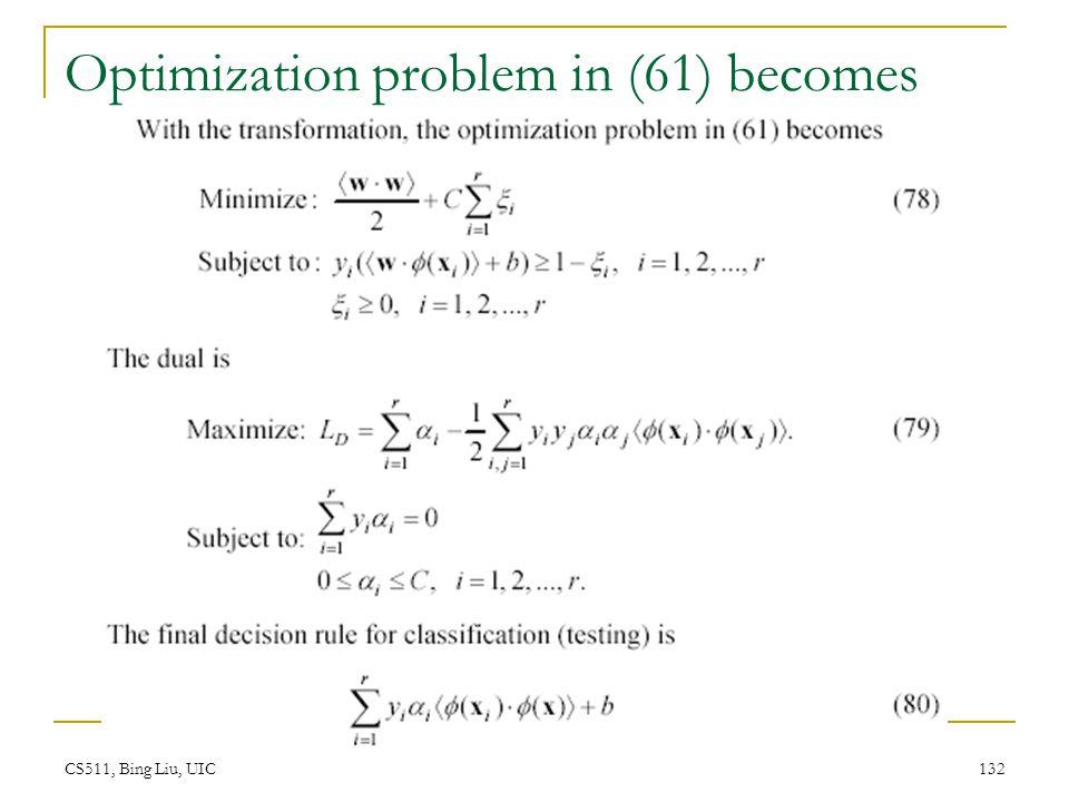 CS511, Bing Liu, UIC 132 Optimization problem in (61) becomes