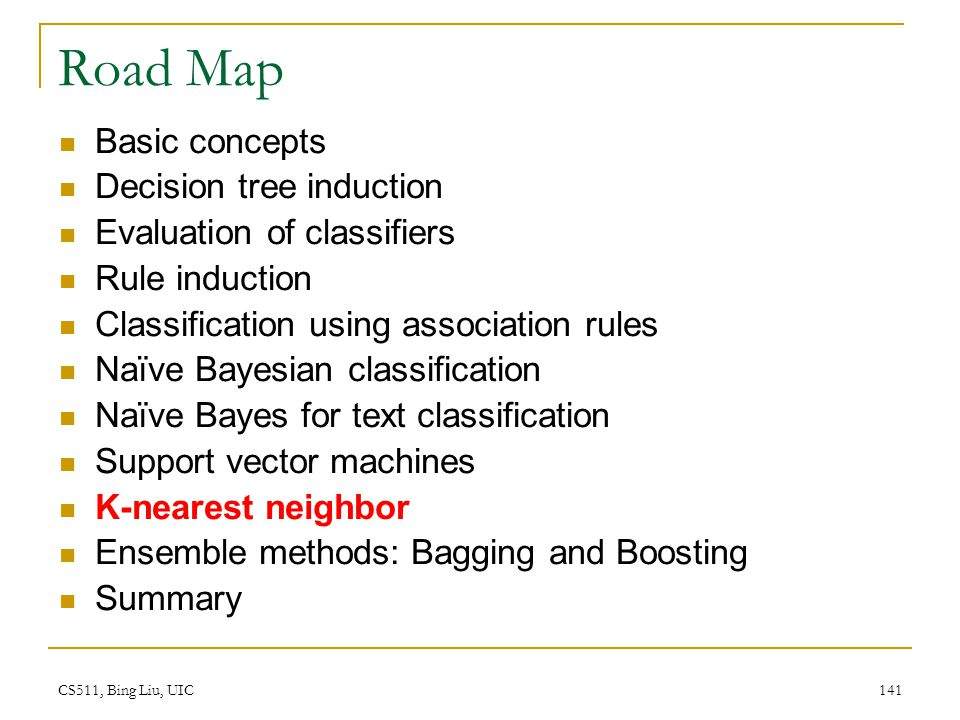CS511, Bing Liu, UIC 141 Road Map Basic concepts Decision tree induction Evaluation of classifiers Rule induction Classification using association rul