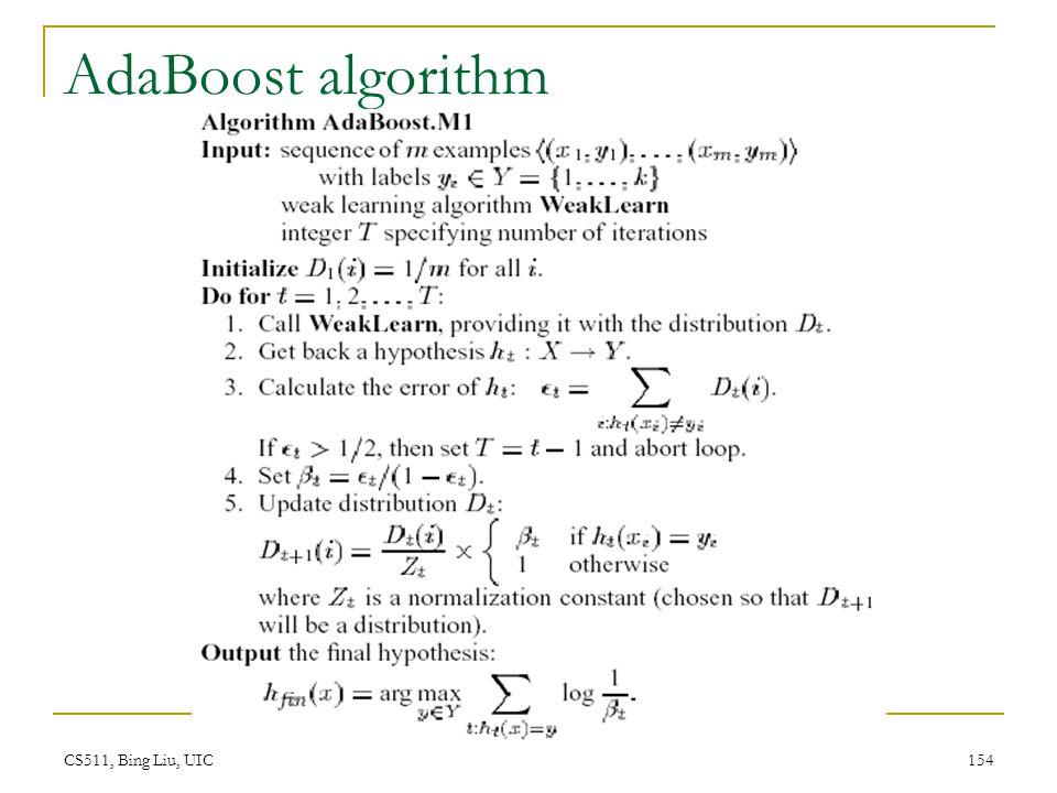 CS511, Bing Liu, UIC 154 AdaBoost algorithm