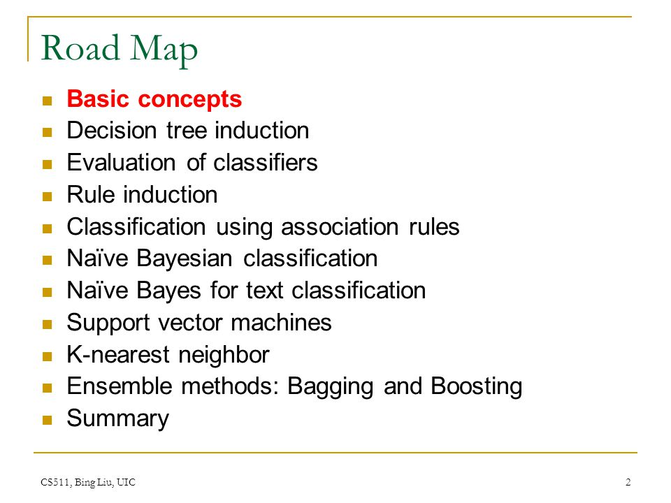 CS511, Bing Liu, UIC 2 Road Map Basic concepts Decision tree induction Evaluation of classifiers Rule induction Classification using association rules