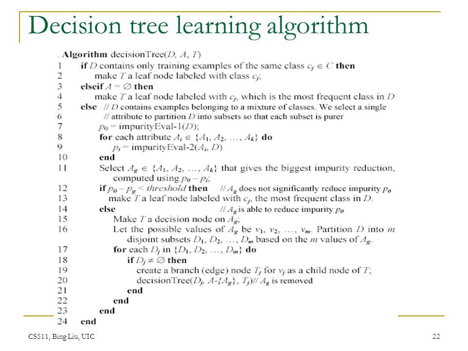 CS511, Bing Liu, UIC 22 Decision tree learning algorithm