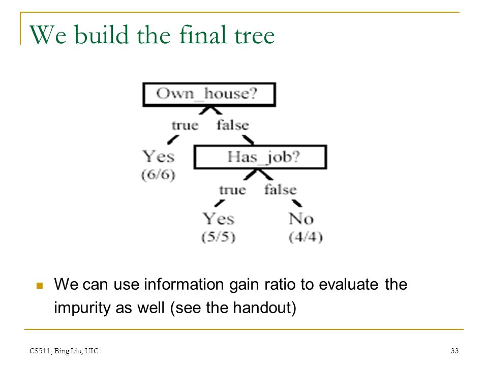 CS511, Bing Liu, UIC 33 We build the final tree We can use information gain ratio to evaluate the impurity as well (see the handout)