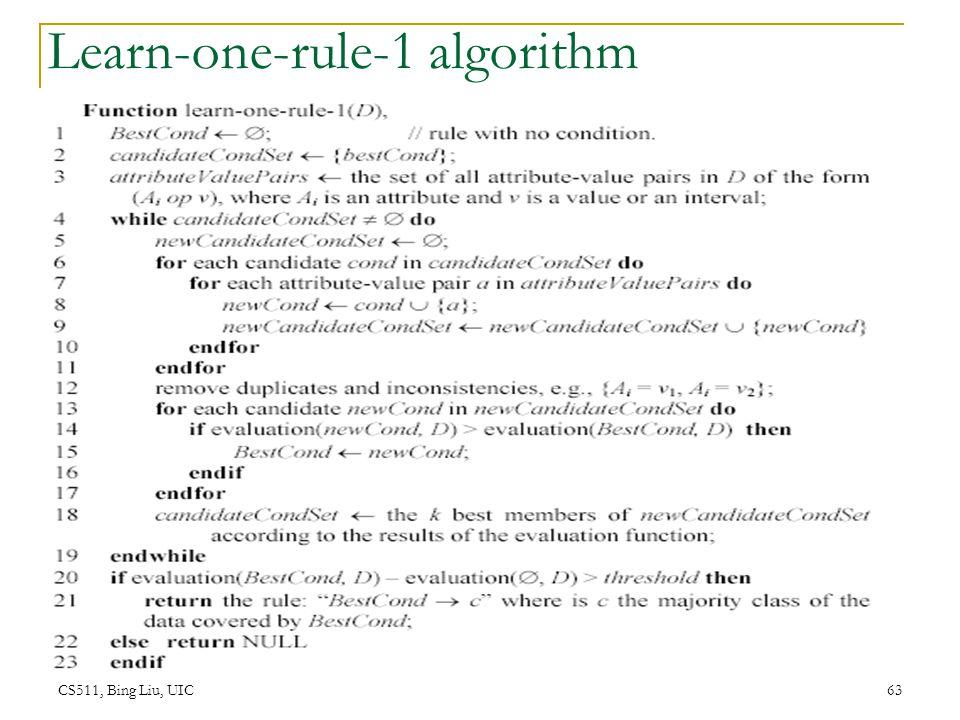 CS511, Bing Liu, UIC 63 Learn-one-rule-1 algorithm
