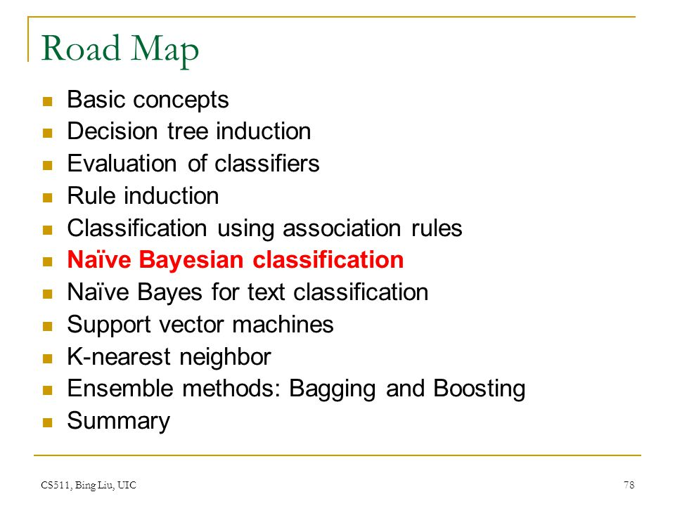 CS511, Bing Liu, UIC 78 Road Map Basic concepts Decision tree induction Evaluation of classifiers Rule induction Classification using association rule