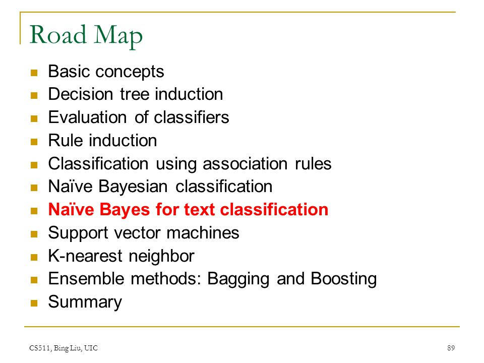 CS511, Bing Liu, UIC 89 Road Map Basic concepts Decision tree induction Evaluation of classifiers Rule induction Classification using association rule