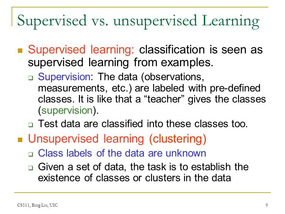 CS511, Bing Liu, UIC 9 Supervised vs. unsupervised Learning Supervised learning: classification is seen as supervised learning from examples.  Superv