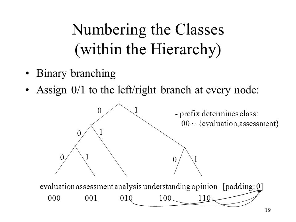 19 Numbering the Classes (within the Hierarchy) Binary branching Assign 0/1 to the left/right branch at every node: evaluation assessment analysis understanding opinion [padding: 0] 000 001 010 100 110 0 1 0 0 0 1 1 1 - prefix determines class: 00 ~ {evaluation,assessment}