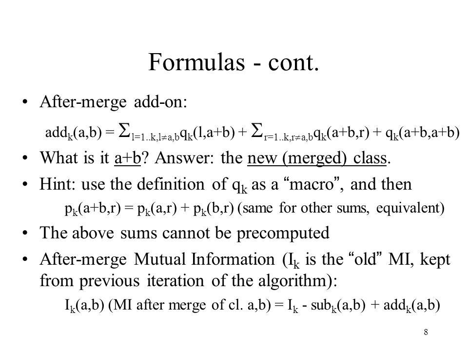 8 Formulas - cont.