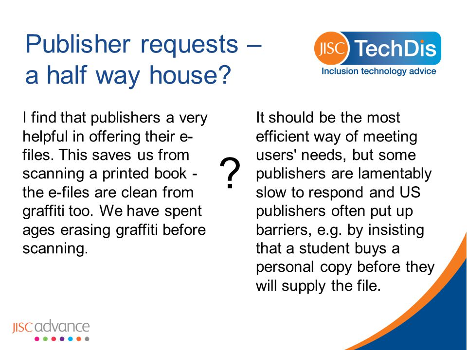Publisher requests – a half way house.