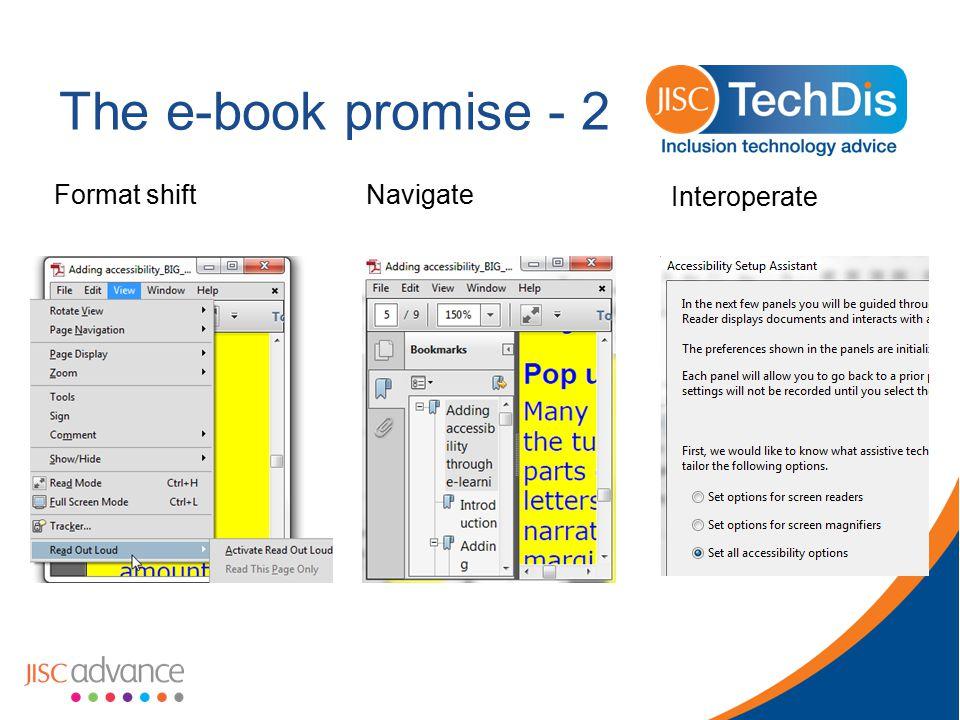 The e-book promise - 2 Format shiftNavigate Interoperate