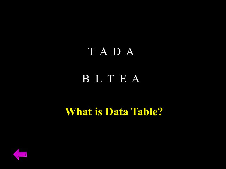 T A D A B L T E A What is Data Table?