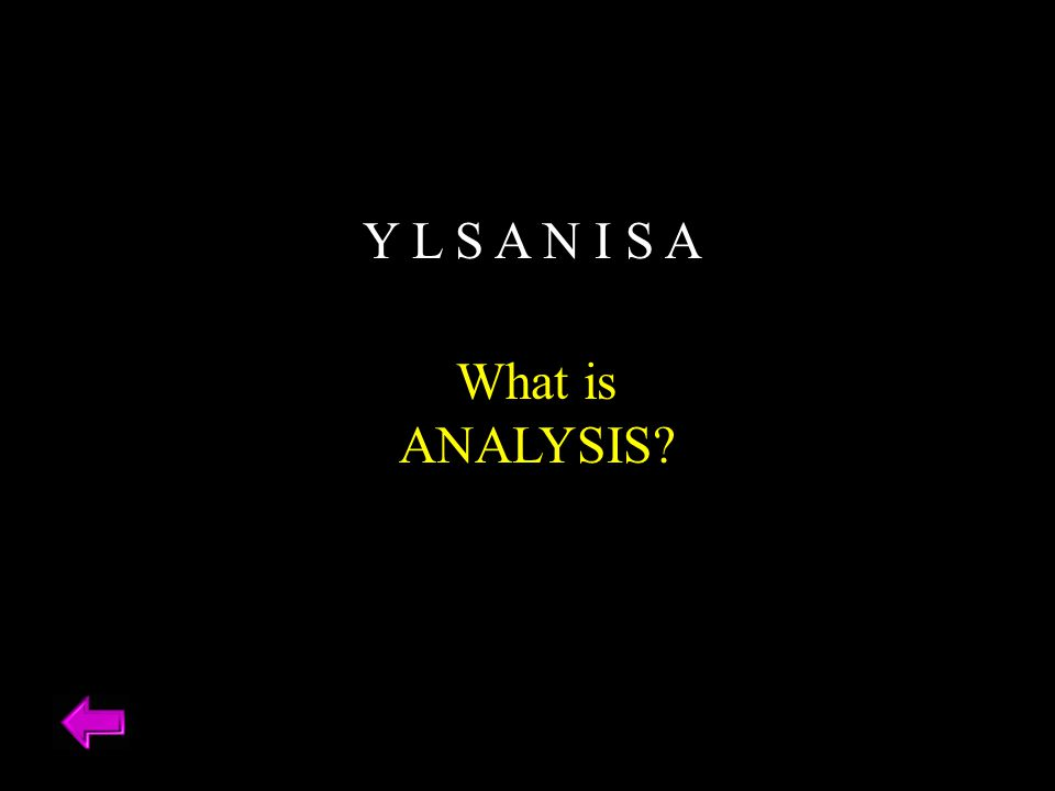 Y L S A N I S A What is ANALYSIS?