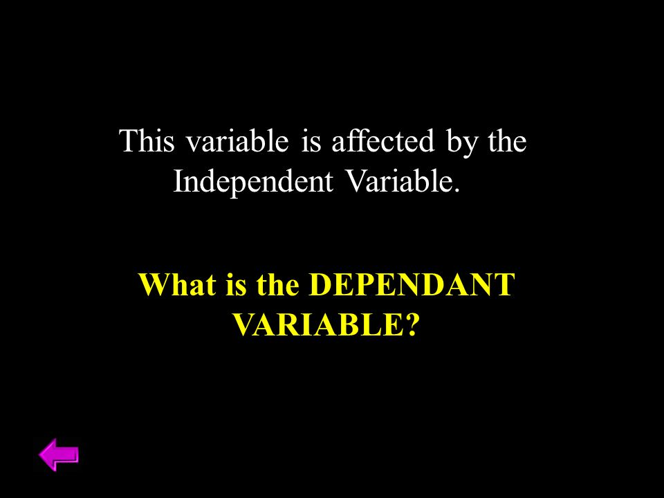 This variable is affected by the Independent Variable. What is the DEPENDANT VARIABLE?