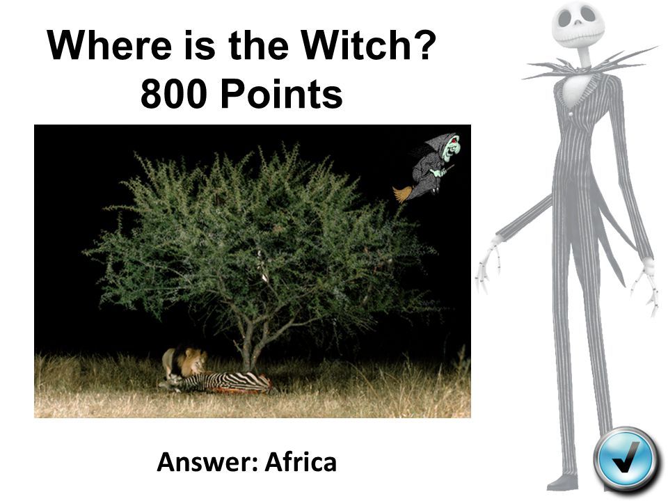 Where is the Witch? 800 Points Answer: Africa