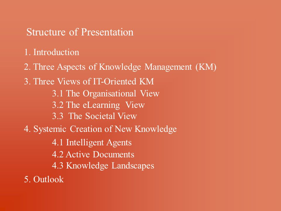 Structure of Presentation 1. Introduction 2. Three Aspects of Knowledge Management (KM) 3.
