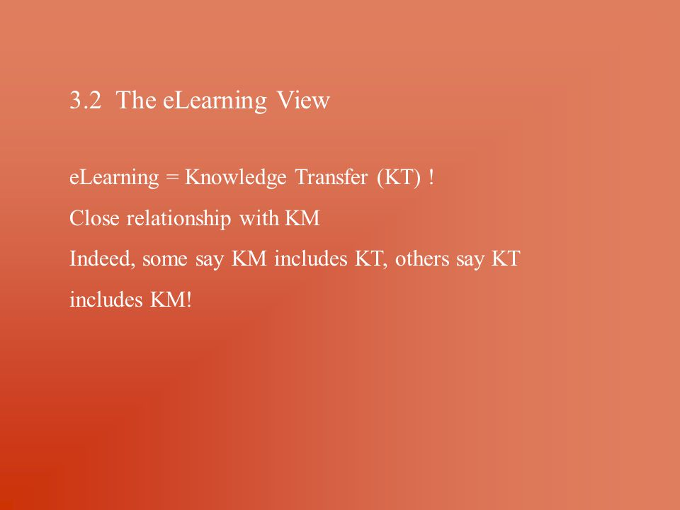3.2 The eLearning View eLearning = Knowledge Transfer (KT) .