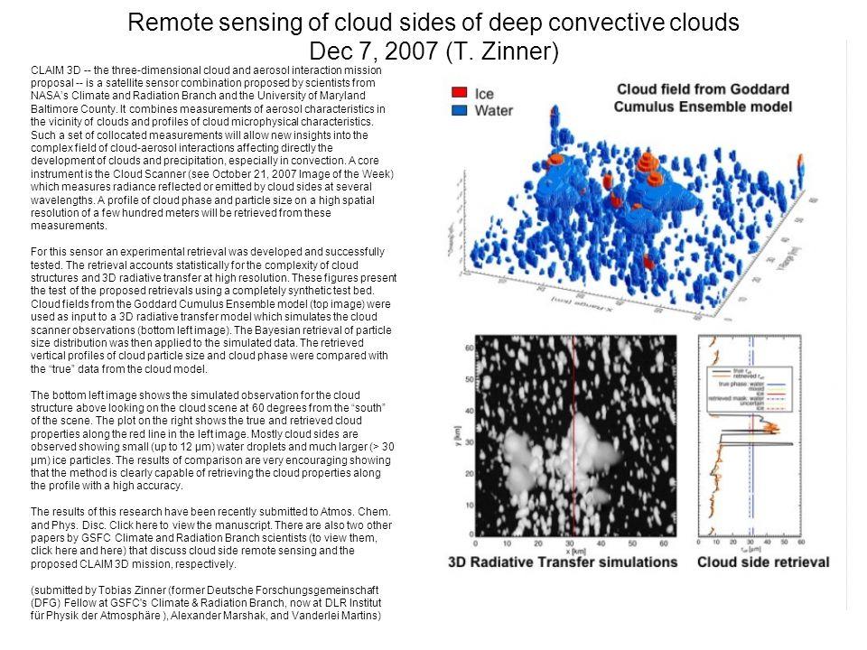 Remote sensing of cloud sides of deep convective clouds Dec 7, 2007 (T.