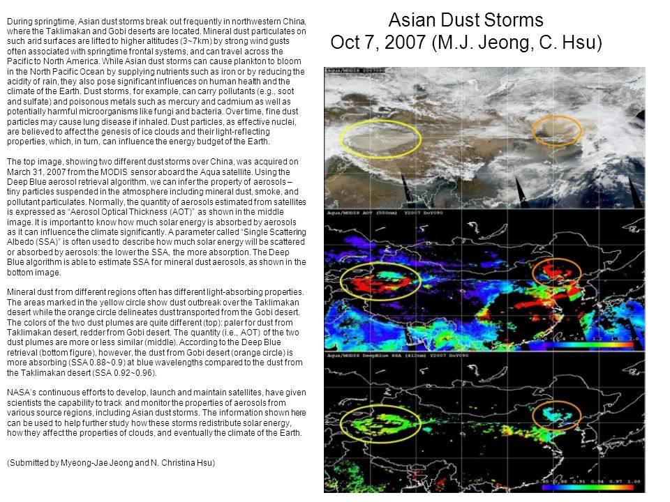 Asian Dust Storms Oct 7, 2007 (M.J. Jeong, C.