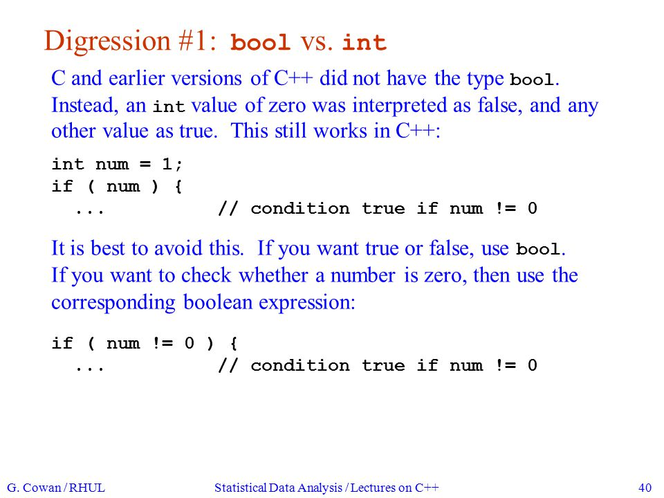 Digression #2: value of an assignment and == vs.