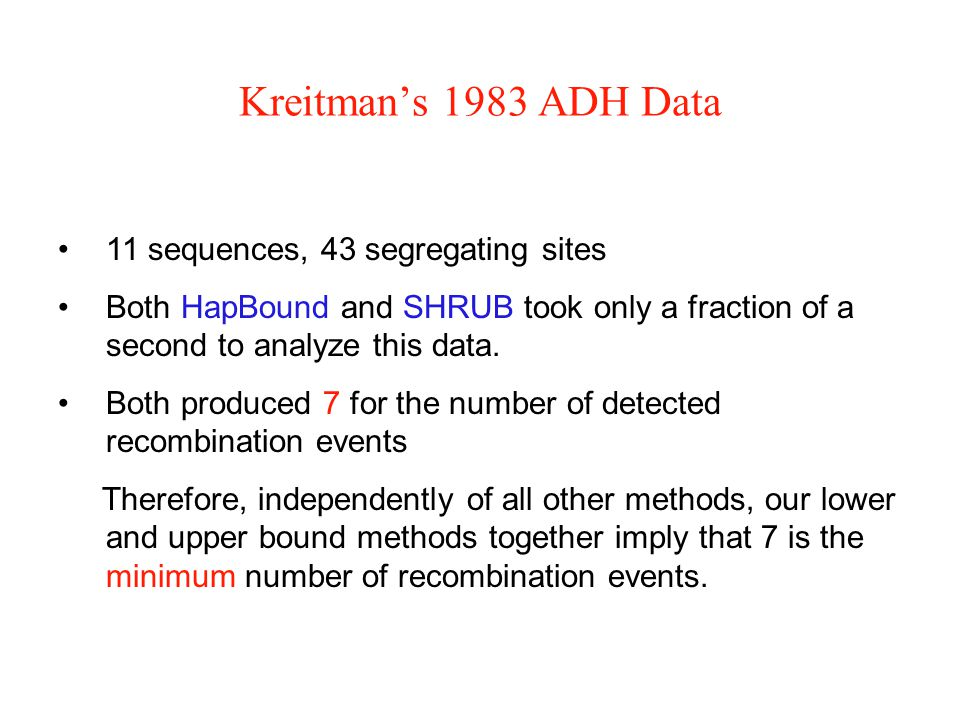 Kreitman's 1983 ADH Data 11 sequences, 43 segregating sites Both HapBound and SHRUB took only a fraction of a second to analyze this data.