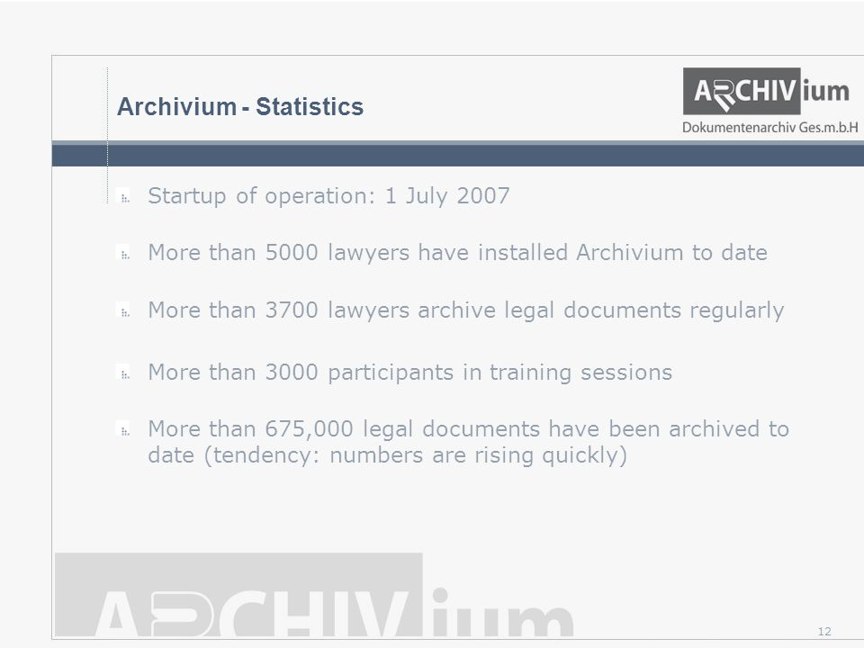 Archivium - Statistics Startup of operation: 1 July 2007 More than 5000 lawyers have installed Archivium to date More than 3700 lawyers archive legal documents regularly More than 3000 participants in training sessions More than 675,000 legal documents have been archived to date (tendency: numbers are rising quickly) 12